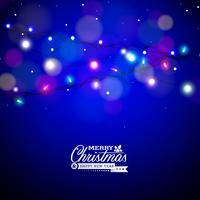 Glödande färgglada julljus för julferie och gott nytt år. Design på glänsande blåttbakgrund.
