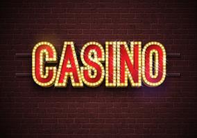 Kasino-Leuchtreklameillustration auf Backsteinmauerhintergrund. Vektorlichtfahne oder helles Schilddesign.