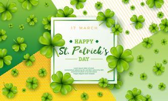 Vector Illustration glücklichen St Patrick Tag mit grünem fallendem Klee auf abstraktem Hintergrund. Irischer Bier-Festival-Feier-Feiertags-Entwurf mit Typografie und Shamrock