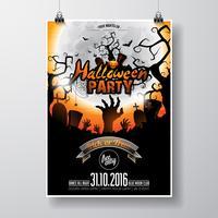 Vektor-Halloween-Party-Flyer-Design mit typografischen Elementen und Kürbis