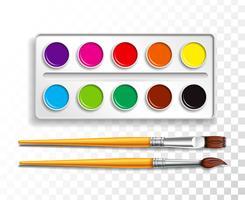 Design uppsättning ljusa akvarellfärger i låda med pensel på transparent bakgrund. Färgglada vektor illustration med skolartiklar för barn.