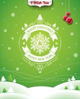 Vector Weihnachtsillustration mit typografischem Design und Band auf Landschaftshintergrund.