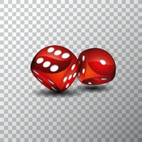 Vektor illustration på ett kasinotema med röda tärningar på transparent bakgrund.