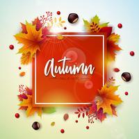 Höstillustration med färgglada fallande löv, kastanjebrun och bokstäver på vit bakgrund. Höstlig vektor design för hälsningskort, banner, flygblad, inbjudan, broschyr eller reklamaffisch.