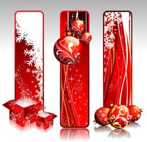 Illustration mit drei vertikale Fahnen auf einem Weihnachtsmotiv.