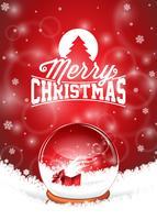 Vector frohe Weihnacht-Feiertagsillustration mit typografischem Design und magischer Schneekugel