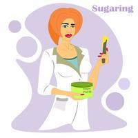 Kosmetikerin im weißen Kittel hält ein Glas Zuckerpaste. Haarentfernung. professionelle Kosmetikerin. das Verfahren der Haarentfernung mit Zucker. perfekte glatte weibliche beine. das Konzept der Hautpflege. vektor