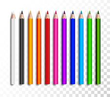 Design uppsättning realistiska färgpennor på transparent bakgrund. Skola objekt, färgstark penna vektor illustration.