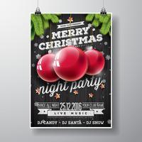 Vektor-fröhliches Weihnachtsfestdesign mit Feiertagstypographieelementen und Glaskugeln auf hölzernem Hintergrund der Weinlese.