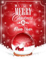 Vector Feiertagsillustration auf einem Weihnachtsmotiv mit Schneekugel gegen.