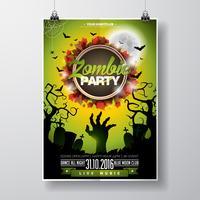 Vektor Halloween Zombie Party Flyer Design mit typografischen Elementen auf grünem Hintergrund.