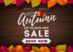 Autumn Sale Design mit fallenden Blättern und Beschriftung auf hölzernem Beschaffenheits-Hintergrund. Herbstliche Vektor-Illustration mit Sonderangebot-Typografie-Elementen für Kupon