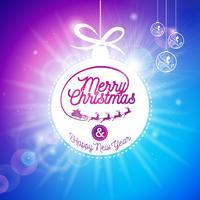 Vektor God jul helgdag och gott nytt år illustration med typografisk design och glänsande glas boll på blå bakgrund.
