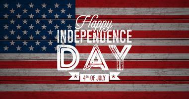Glücklicher Unabhängigkeitstag der USA-Vektor-Illustration. Viertel des Juli-Designs mit Flagge auf hölzernem Hintergrund der Weinlese für Fahne, Grußkarte, Einladung oder Feiertags-Plakat.