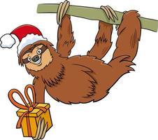 Cartoon Faultier Tierfigur mit Geschenk zur Weihnachtszeit vektor