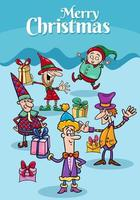 Design oder Karte mit Cartoon-Elfen zur Weihnachtszeit vektor
