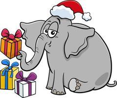 Cartoon-Elefant-Charakter mit Geschenk zur Weihnachtszeit vektor