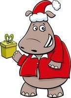 Cartoon Nilpferd Tierfigur mit Geschenk zur Weihnachtszeit vektor