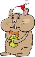 Hamster-Tierzeichentrickfigur mit Geschenk zur Weihnachtszeit vektor