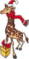 Cartoon Giraffe Tierfigur mit Geschenk zur Weihnachtszeit vektor