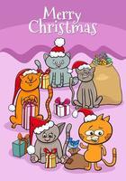 Design oder Karte mit Cartoon-Kätzchen zur Weihnachtszeit vektor