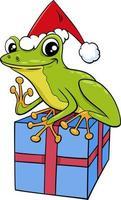 Cartoon Frosch Tierfigur mit Geschenk zur Weihnachtszeit vektor