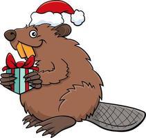 Cartoon-Biber-Tier-Charakter mit Geschenk zur Weihnachtszeit vektor