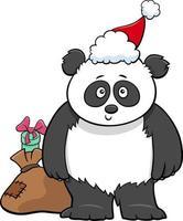 Cartoon-Panda-Tier-Charakter mit Geschenk zur Weihnachtszeit vektor