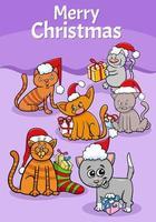 Design oder Karte mit Cartoon-Katzen zur Weihnachtszeit vektor