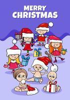 Design oder Karte mit Cartoon-Kindern zur Weihnachtszeit vektor