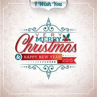 Vector Weihnachtsillustration mit typografischem Design auf Schmutzhintergrund.