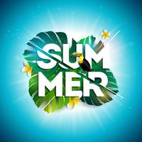 Sommerschlussverkauf-Design mit Blumen-, Tukan- und exotischen Blättern auf blauem Hintergrund. Tropische Blumenvektor-Illustration mit Sonderangebot-Typografie-Elementen für Kupon