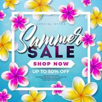 Sommerschlussverkauf-Design mit Blume und exotischen Blättern auf blauem Hintergrund. Tropische Blumenvektor-Illustration mit Sonderangebot-Typografie-Elementen für Kupon