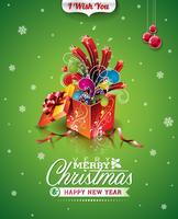 Vector Weihnachtsillustration mit typografischem Design und magischer Geschenkbox