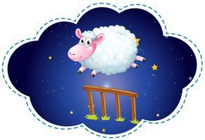 Schafe springen über den Zaun in der Nacht