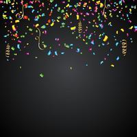 Abstrakt vektorillustration med färgstarka konfetti och band på mörk bakgrund.