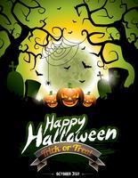Vektor illustration på ett lyckligt Halloween tema på månen bakgrund.