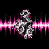 Vektor illustration på ett musikaliskt tema med högtalare på abstrakt våg bakgrund.