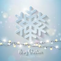 Frohe Weihnachten und guten Rutsch ins Neue Jahr-Illustration mit Schneeflocke 3d und hellem Garland auf glänzendem Hintergrund. Vector Holiday Design für erstklassige Grußkarte, Party-Einladung oder Promo-Banner.