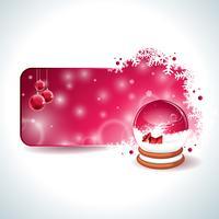 Vektor juldesign med magisk snöklot och röd glasboll på snöflingor bakgrund.