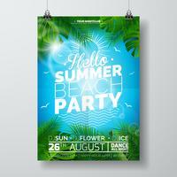 Vektor-Sommer-Strandfest-Flieger-Design mit typografischem Design vektor