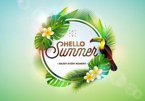 Hallo Sommerillustration mit Tukanvogel auf tropischem Hintergrund. Exotische Blätter und Blumen mit Feiertagstypographieelement. Vektor-Design-Vorlage für Banner