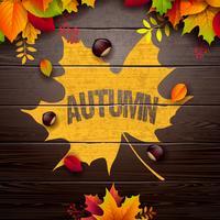Höstillustration med färgglada löv och kastanje och bokstäver på vintage träbakgrund. Höstlig vektor design för hälsningskort
