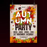 Autumn Party Flyer Illustration mit fallenden Blättern und Typografiedesign auf Gekritzelmusterhintergrund. Vektor-herbstliches Fall-Festival-Design für Einladungs- oder Feiertags-Feier-Plakat.