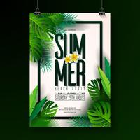 Vector Summer Beach Party Flyer Design med typografiska element på exotiskt blad bakgrund. Sommar natur blommiga element