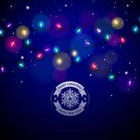 Glühende bunte Weihnachtslichter für Weihnachtsfeiertag und guten Rutsch ins Neue Jahr-Gruß-Karten entwerfen auf glänzendem blauem Hintergrund.