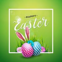 Vector Illustration von glücklichem Ostern-Feiertag mit gemaltem Ei, den Kaninchenohren und der Blume auf glänzendem grünem Hintergrund. Internationaler Feierentwurf mit Typografie für Grußkarten, Partyeinladungen oder Promo-Banner.
