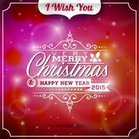 Vector Weihnachtsillustration mit typografischem Design auf glänzendem Hintergrund.