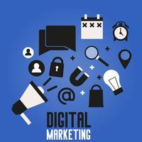 Digitalmarketingfahne auf einem blauen Hintergrund