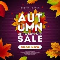 Autumn Sale Design mit fallenden Blättern und Beschriftung auf purpurrotem Hintergrund. Herbstliche Vektor-Illustration mit Sonderangebot-Typografie-Elementen für Kupon